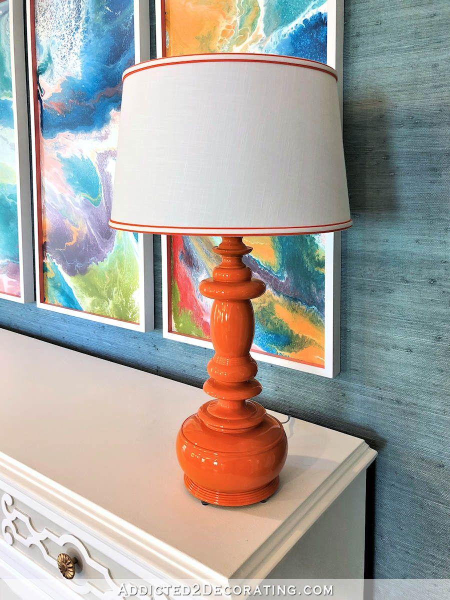 Colorful Orange Lamp Makeover Plus A Few Entryway Plans Lamp Makeover Orange Lamps Contemporary Floor Lamps
