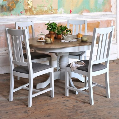 Westbury Grey Painted 110 150cm Round Table And 4 Chairs