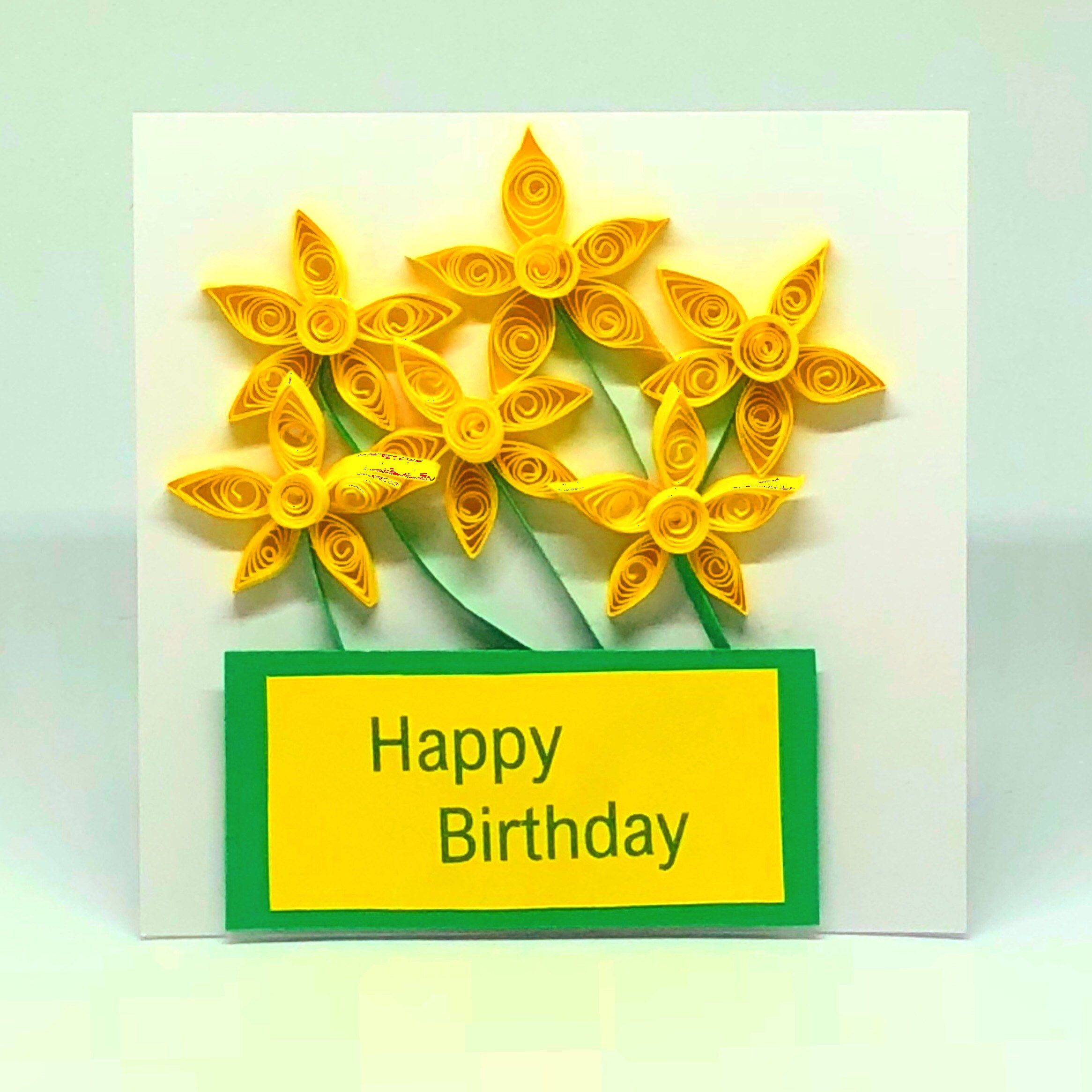 Daffodil Paper Quilled Happy Birthday Card 3d Cards Spring Flower