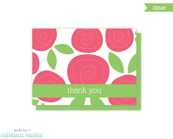 flower thank you cards set of 8 cards & by MadeByCristinaMarie