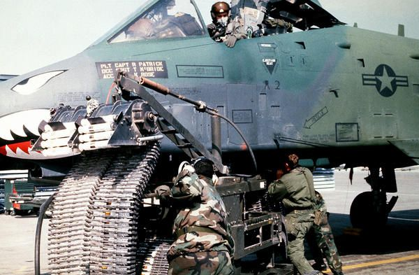 A-10 Loading Ammunition for her GAU-8 30mm Gun