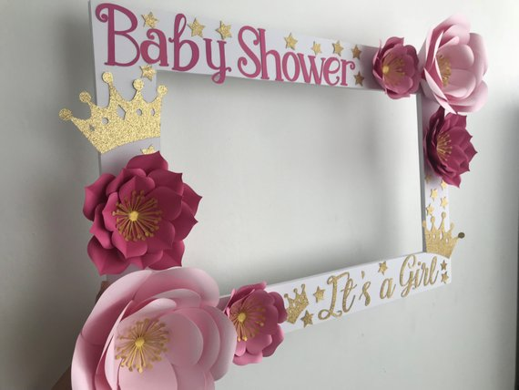 Selfie Frame Photo Booth Prop Roses Baby Shower Idea Baby Shower Picture Frame Baby Shower Photo Booth Frame