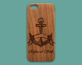 iPhone 5 Skull Design Case Anchor Engraved Wood by LovinaCases