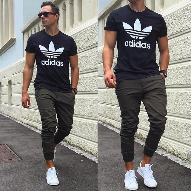 Joggers, Adidas shoes, Adidas shirt completes this hip cool street style  look.