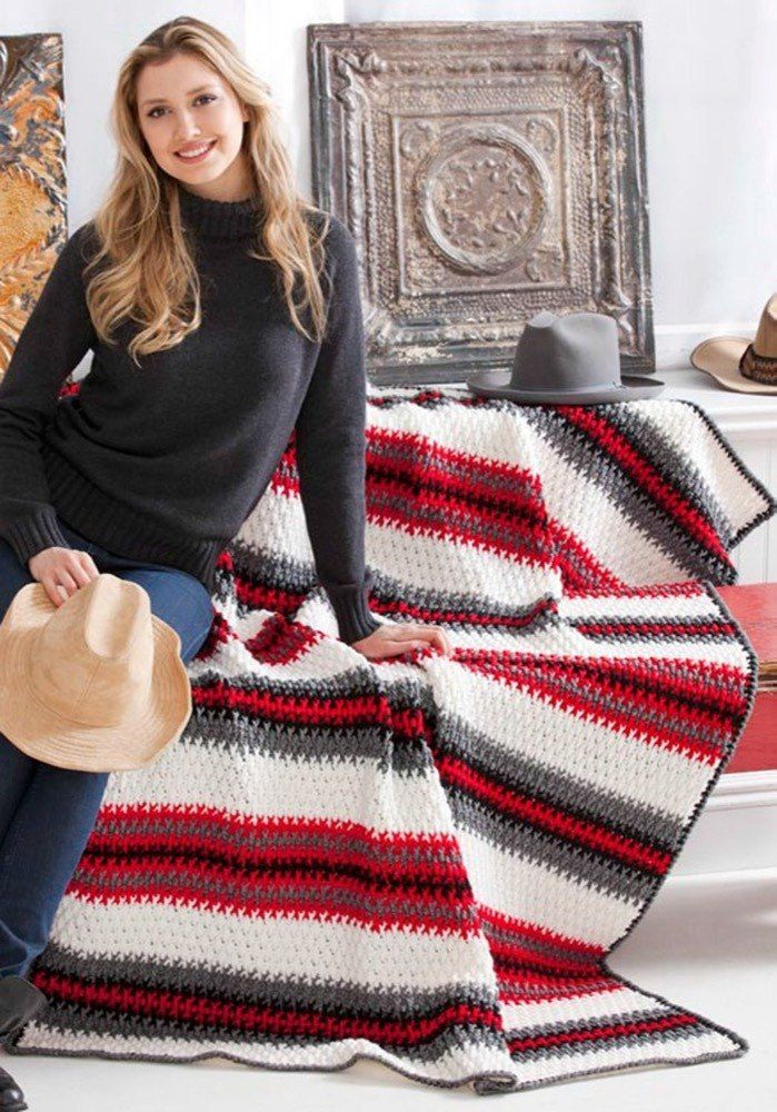Crochet Pattern Afghan Blanket Throw Textured Stripe