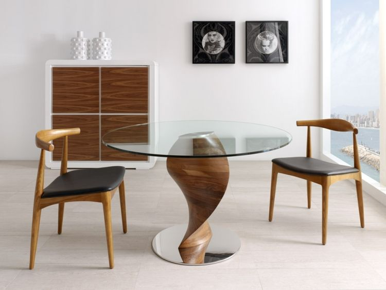 Moderna mesa de comedor de diseño, fabricada en madera de nogal de ...