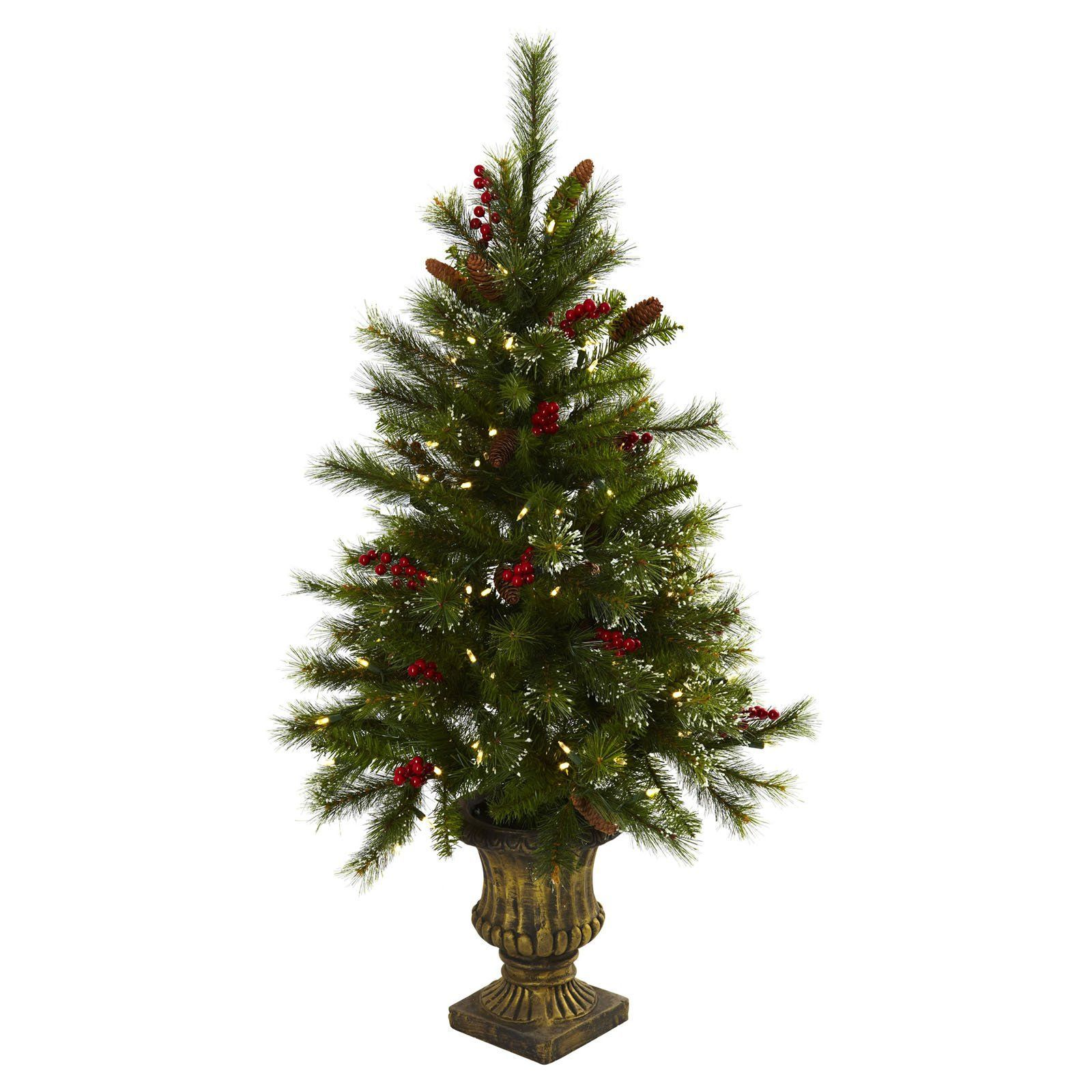 4 Ft Pre Lit Christmas Tree With Berries Pine Cones Urn Clear Lights Faux Christmas Trees Pre Lit Christmas Tree Slim Artificial Christmas Trees