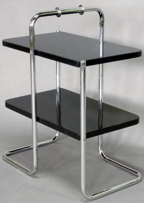 Art Déco - Wolfgang Hoffmann - Table d'Appoint Desserte - Laque Noire et Chrome - Années 30