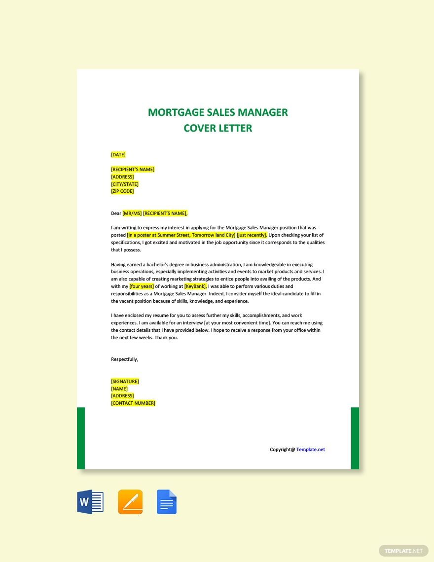 Free mortgage sales manager cover letter template in 2020