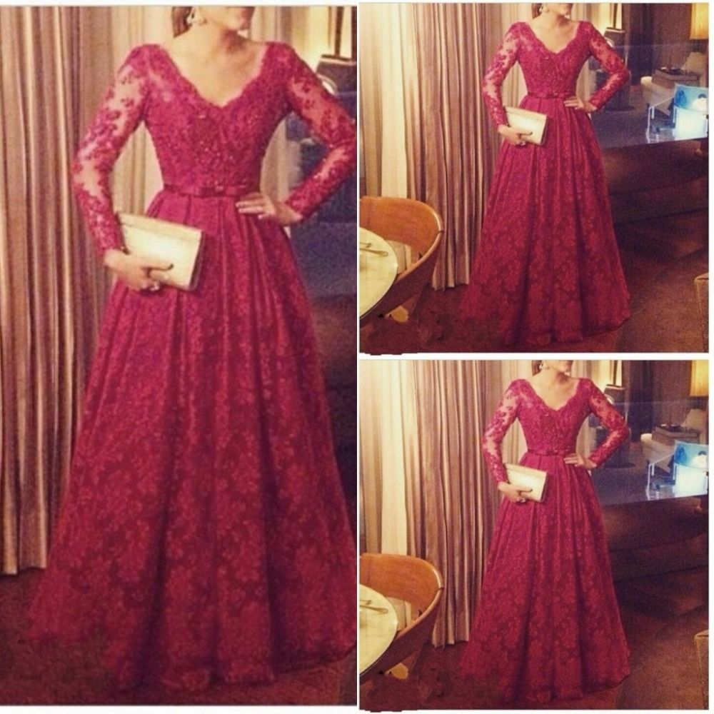 New burgundy lace long sleeve prom dress v neck party pageant