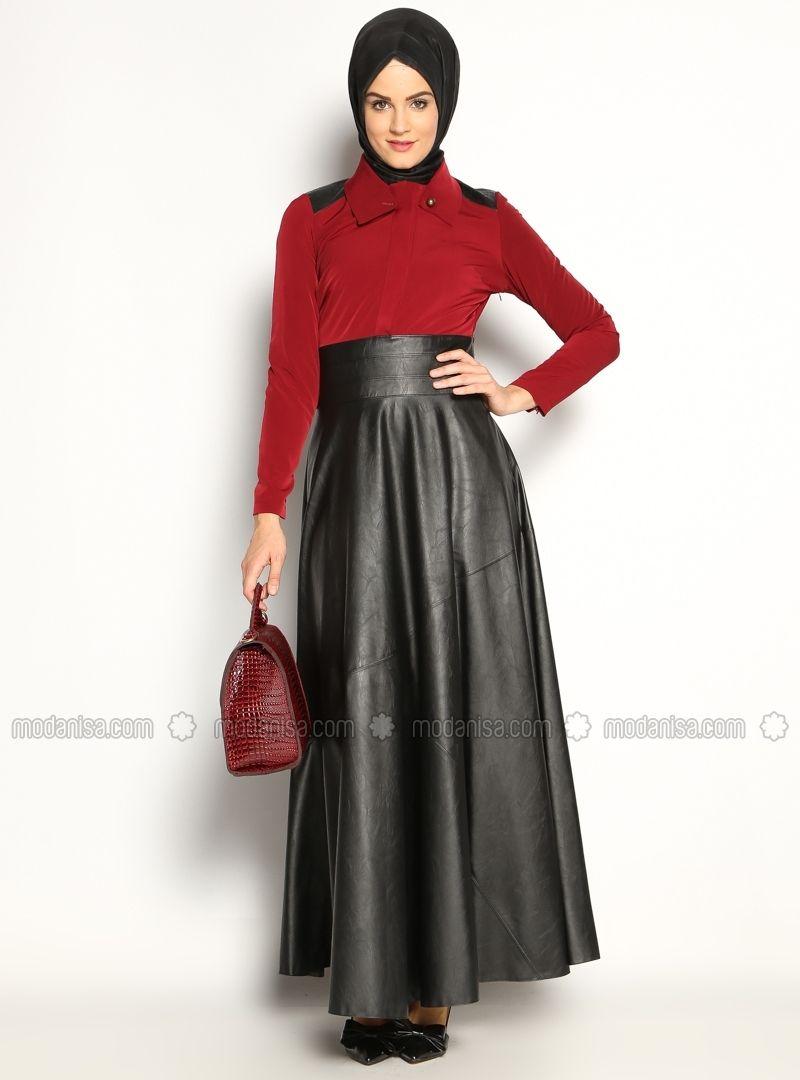 Deri Elbise - Siyah Bordo - İpekdal