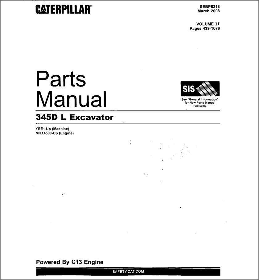 Caterpillar 345D Parts Manual for Excavator Download in