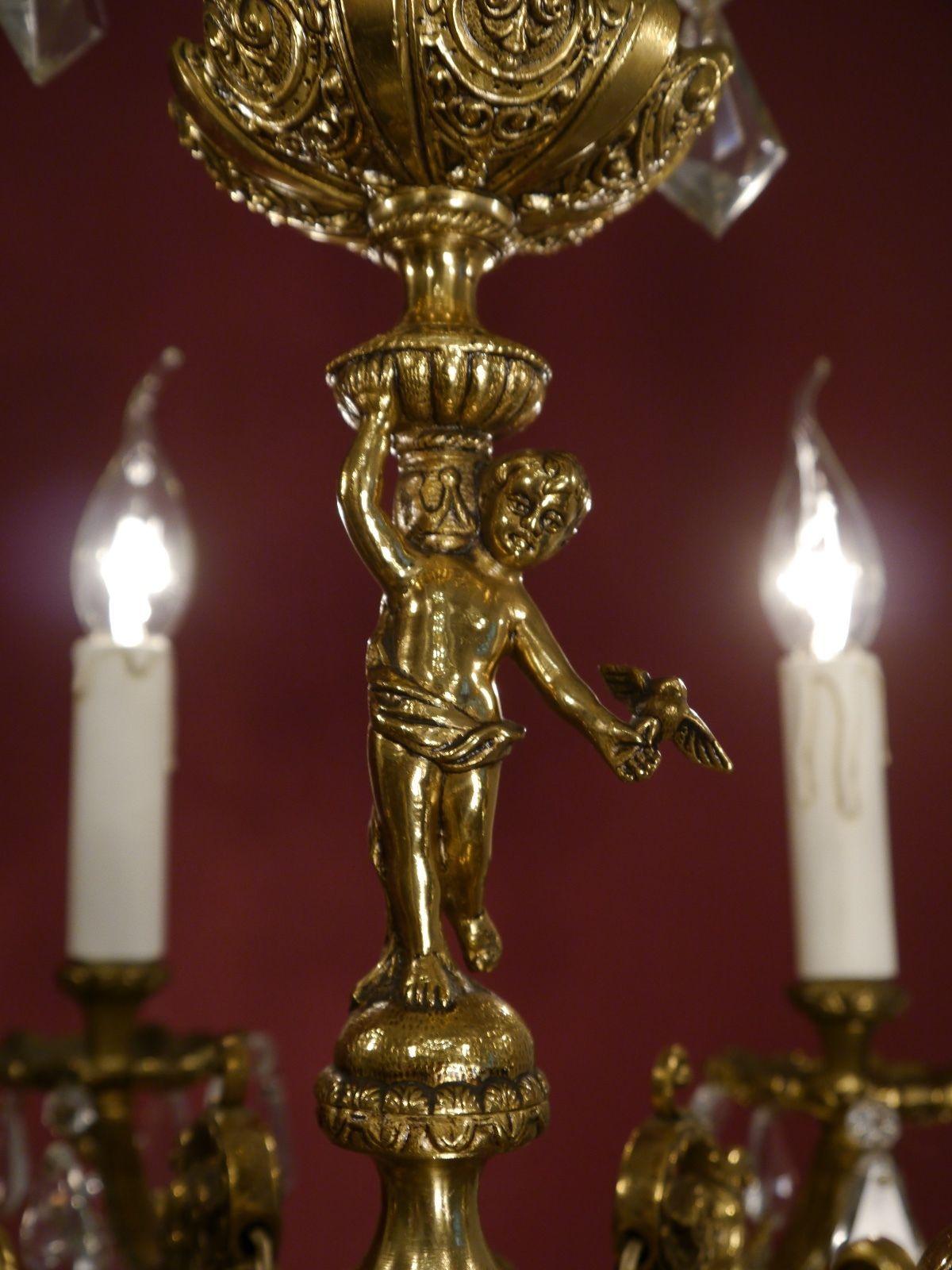 Magnificent Brass Chandelier Cherubs Figurine Crystal Antique Old - Chandelier crystals ebay
