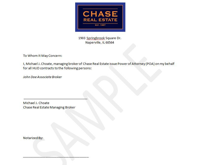 Printable Sample Power Of Attorney Letter Form  Real Estate Forms