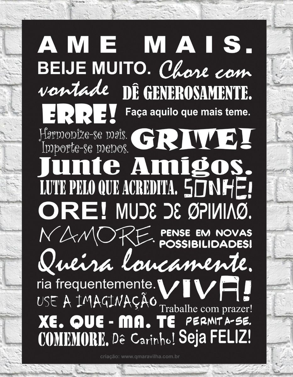 17e31f5b1 Placa Decorativa Frases  Ame Mais!
