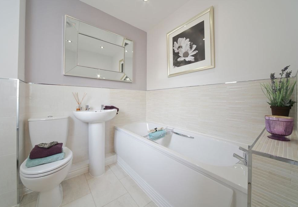 taylor wimpey lucet meadow redditch interio designed bathroom pale lilac and bamboo effect wall tiles this is perhaps one of the most serene - Bathroom Tiles Redditch