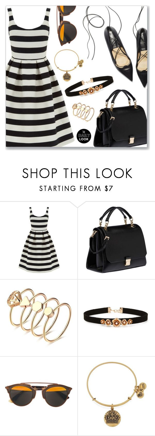 """""""Outfit of the day (Read description)"""" by dressedbyrose ❤ liked on Polyvore featuring Warehouse, Miu Miu, Forever 21, Christian Dior, Alex and Ani and polyvoreeditorial"""