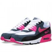 Overwhelming Colorways Nike Air Max 90 Womens Mens Essential Pink White Foil  Black Running Trainers 1cf4aebe3