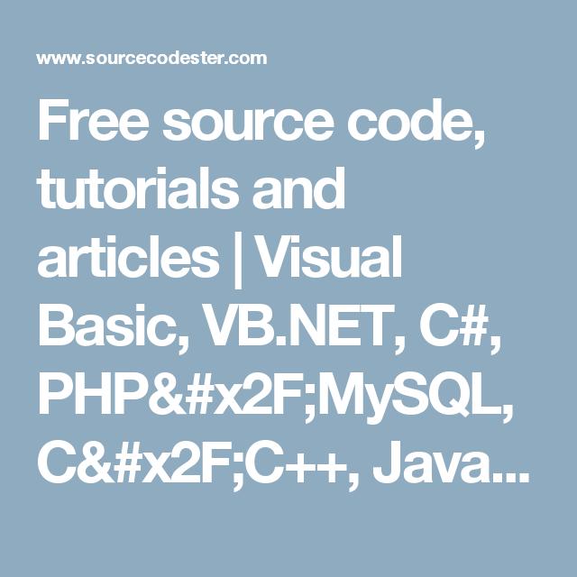 Free source code, tutorials and articles | Visual Basic, VB
