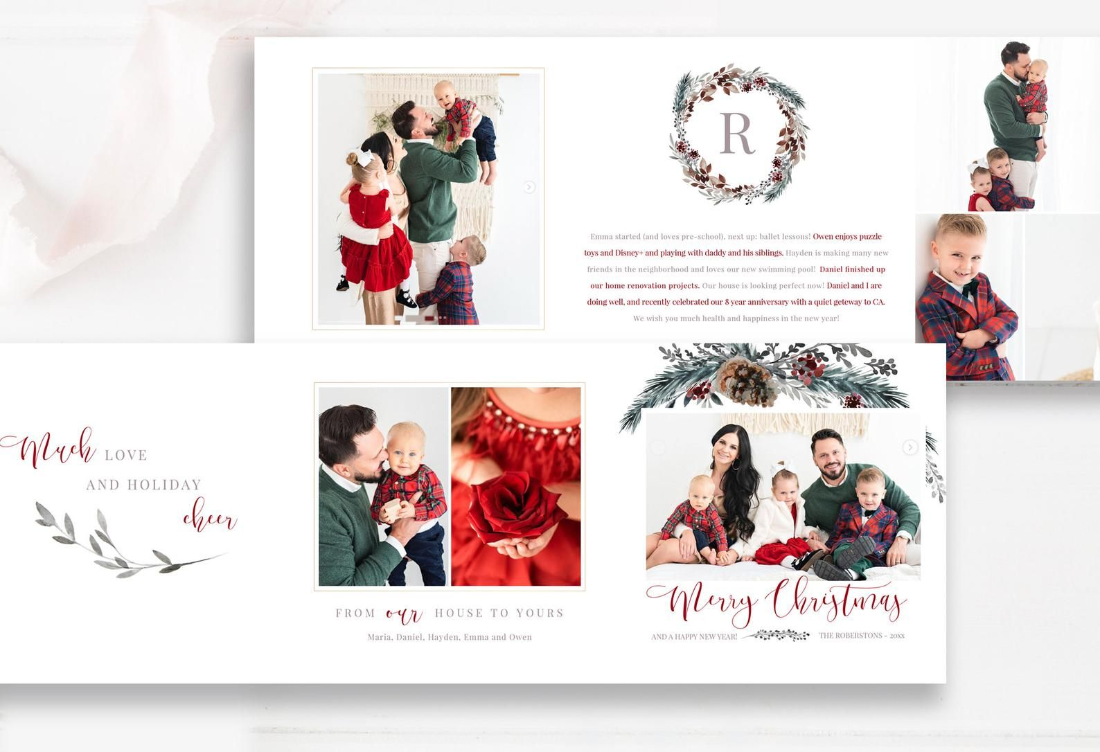 Merry Christmas 5x5 Trifold Photo Card Template Trifold Etsy In 2021 Photo Card Template Christmas Photo Card Template Holiday Photo Cards Design