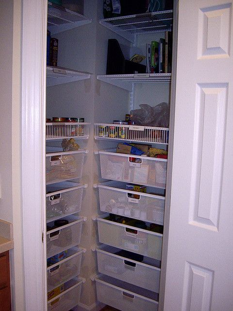 After Installing Elfa System In Our Pantry. Each Side Has Five Deep  Drawers, A Basket Shelf, And Three Shelves That Go Nearly To The Ceiling.