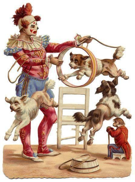 Clown and Dogs