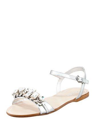 f923809d0 Crystal Strap Flat Sandal