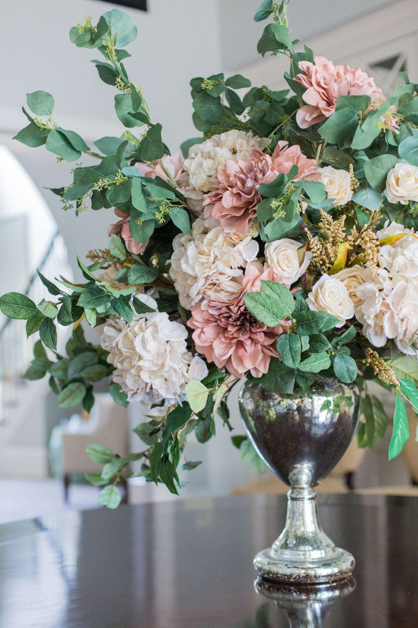 Large Faux Flower Arrangement For Fall And Then Christmas Bluegraygal In 2020 Large Flower Arrangements Home Flower Arrangements Large Floral Arrangements