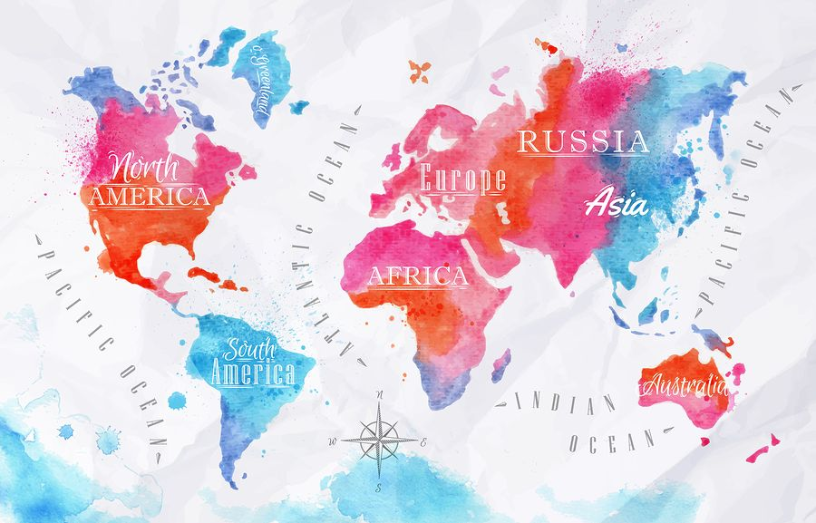 Map of the world art print 16x23 original watercolor painting world map posters kinds styles and interesting designs watercolor world map poster gumiabroncs Gallery