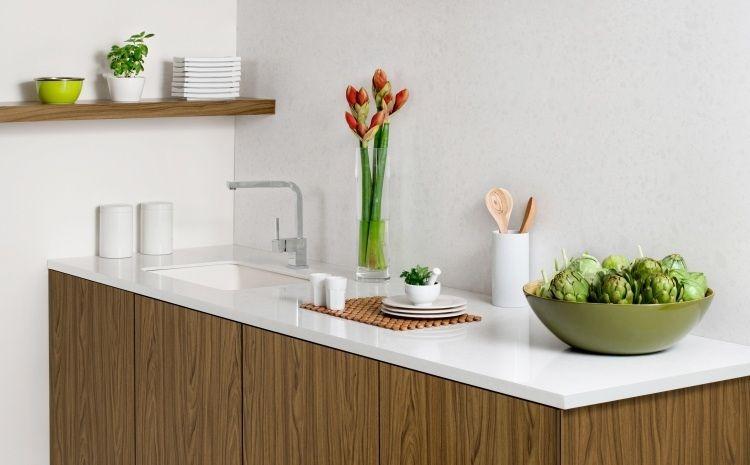 Plan de travail cuisine en blanc- quartz ou Corian? - plan de travail de cuisine