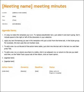 minute template for meetings