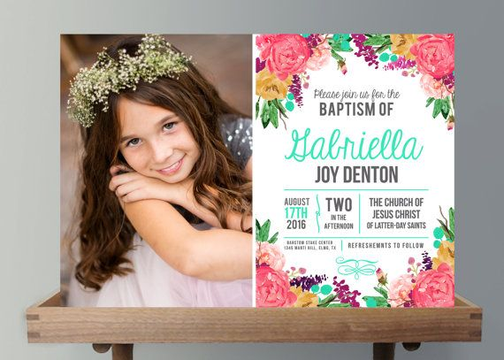 Girls LDS Baptism Invitation - Girls Photo announcement Floral ...