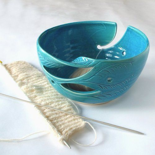 Knitting Bowl Funny : Large yarn bowl my favorite robins egg turquoise