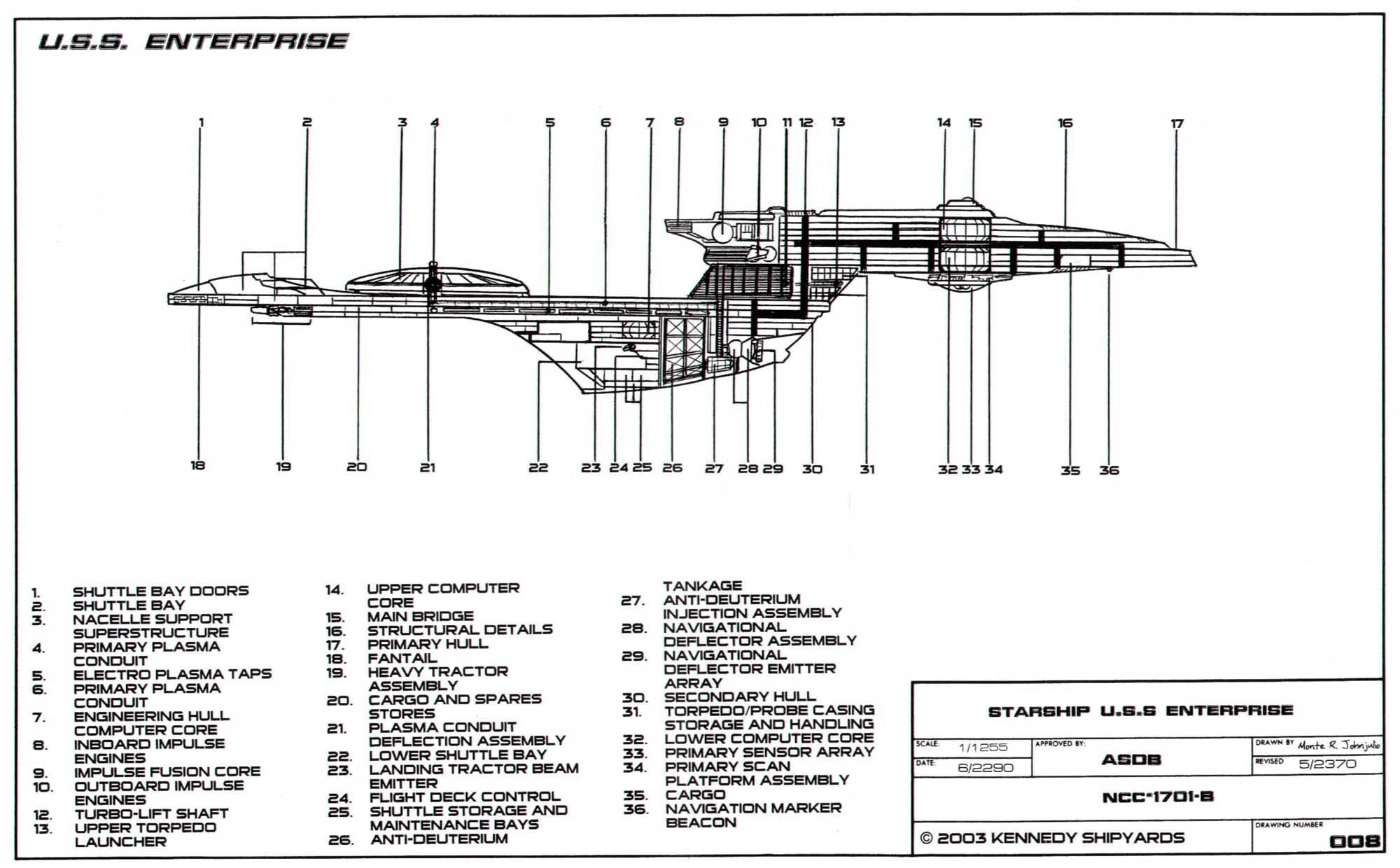 Schematic Of The Excelsior Class Enterprise Ncc B