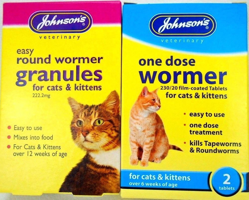 Johnson S Cat Kitten One Dose Wormer Worming Tablets Granuals Roundworm Tapeworm Johnsons Cats And Kittens Wormer Roundworm