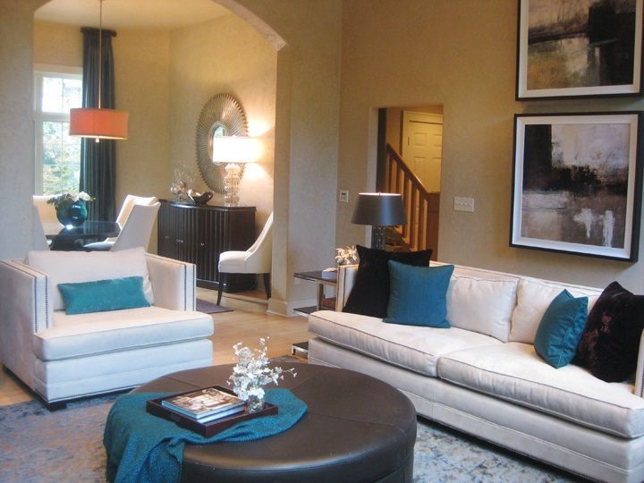 Living Rooms  Turquoise Accents Turquoise Rooms Oversize Leather Ottoman  Round Leather Ottoman Turquoise And Brown Classic Modern Living Room