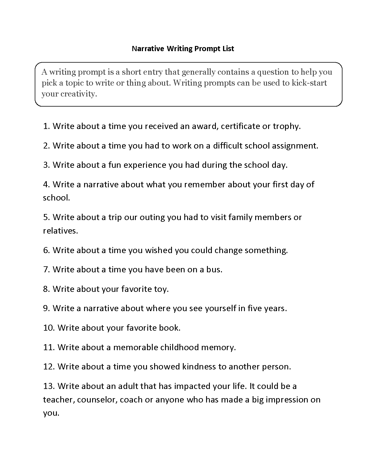 Narrative Writing Prompt List And Worksheet