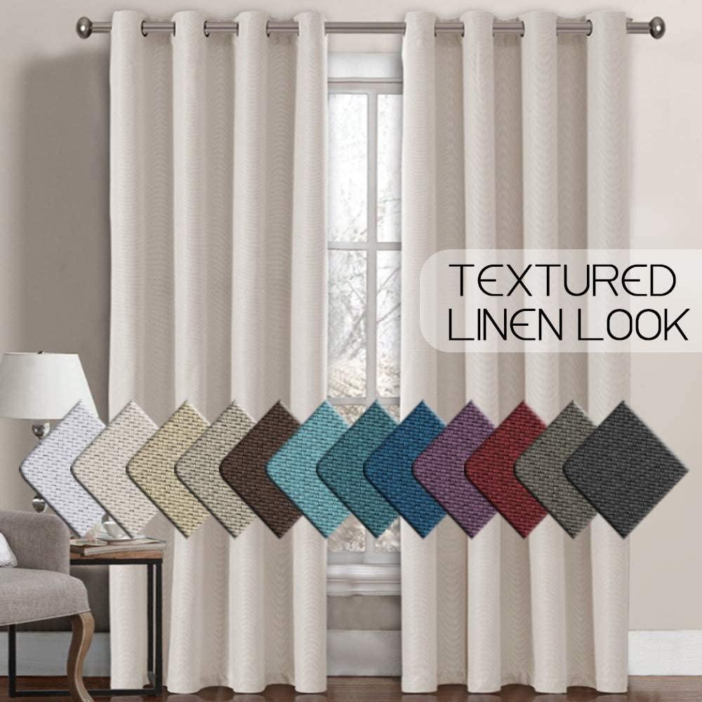 H.VERSAILTEX Linen Curtains Room Darkening Light Blocking Thermal Insulated Heav
