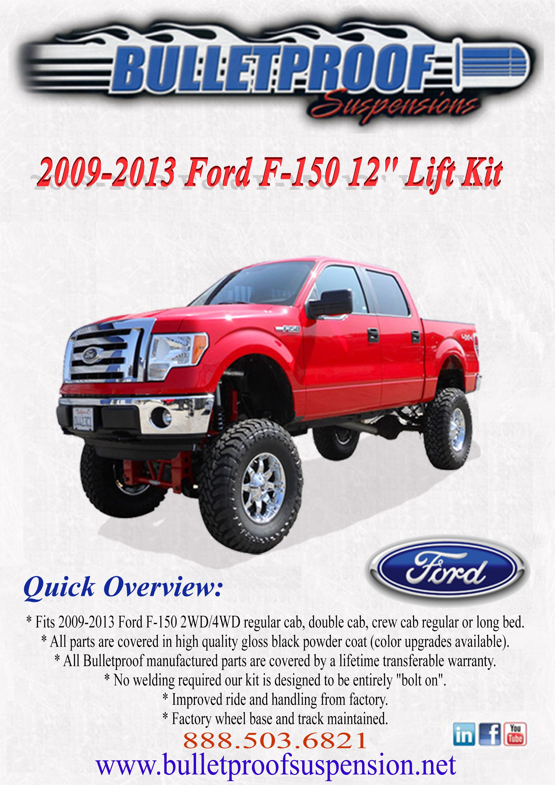 Bulletproof suspension lift kit 2009 2013 ford f 150 12