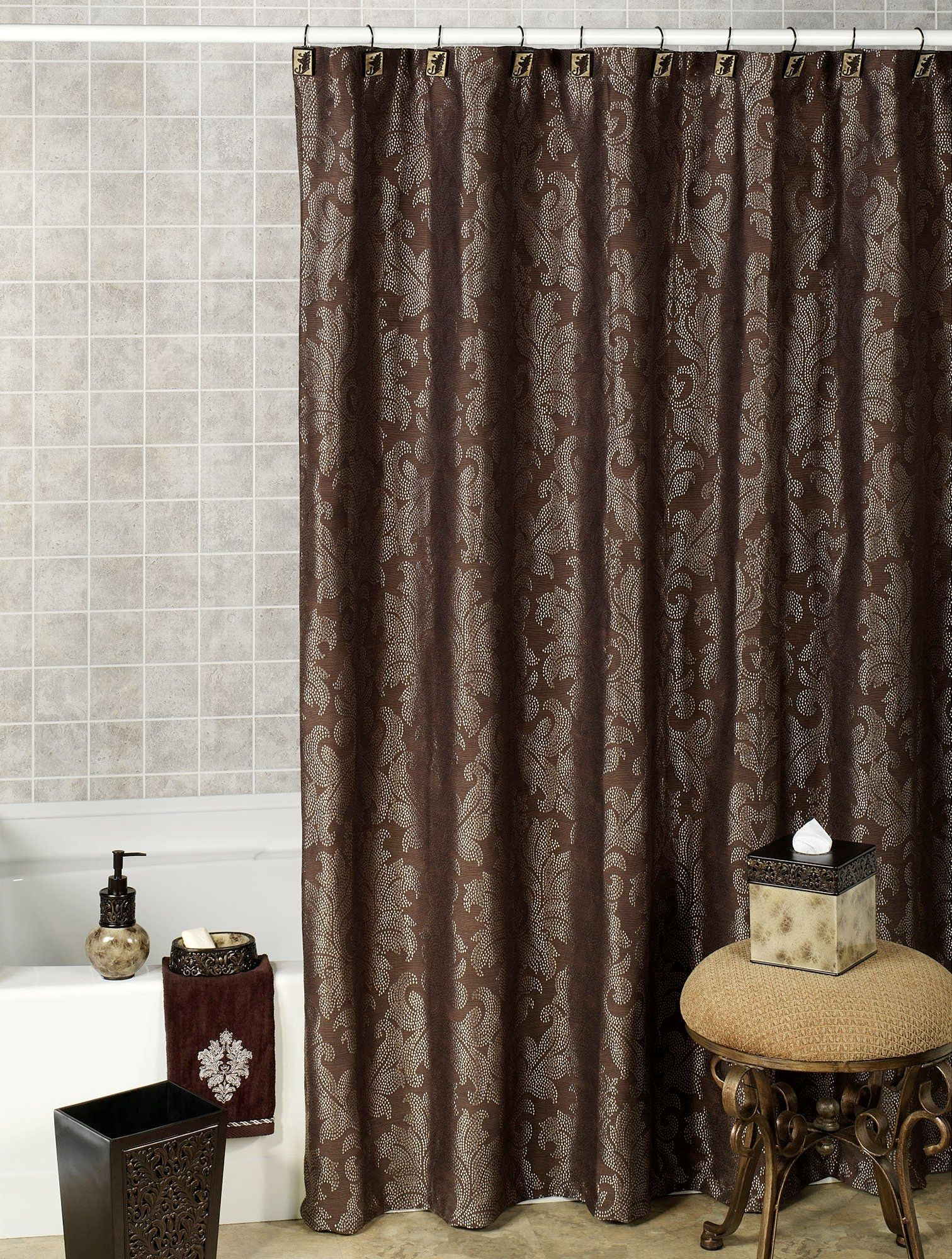 Chocolate Brown And White Shower Curtain