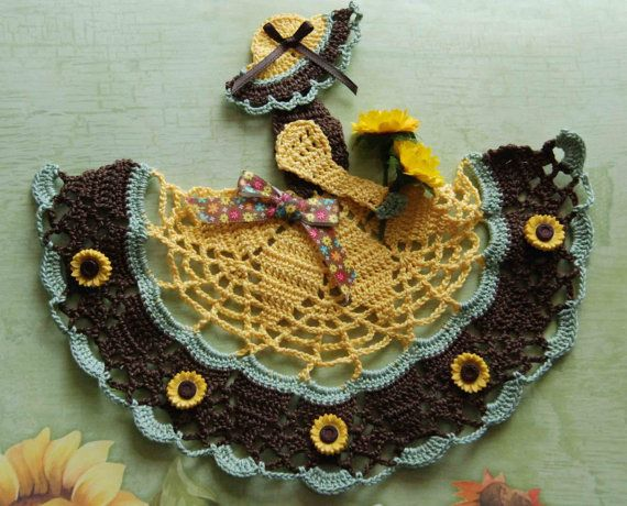 Sunflower Theme Crinoline Lady Hand Crochet Doily by designedbyl