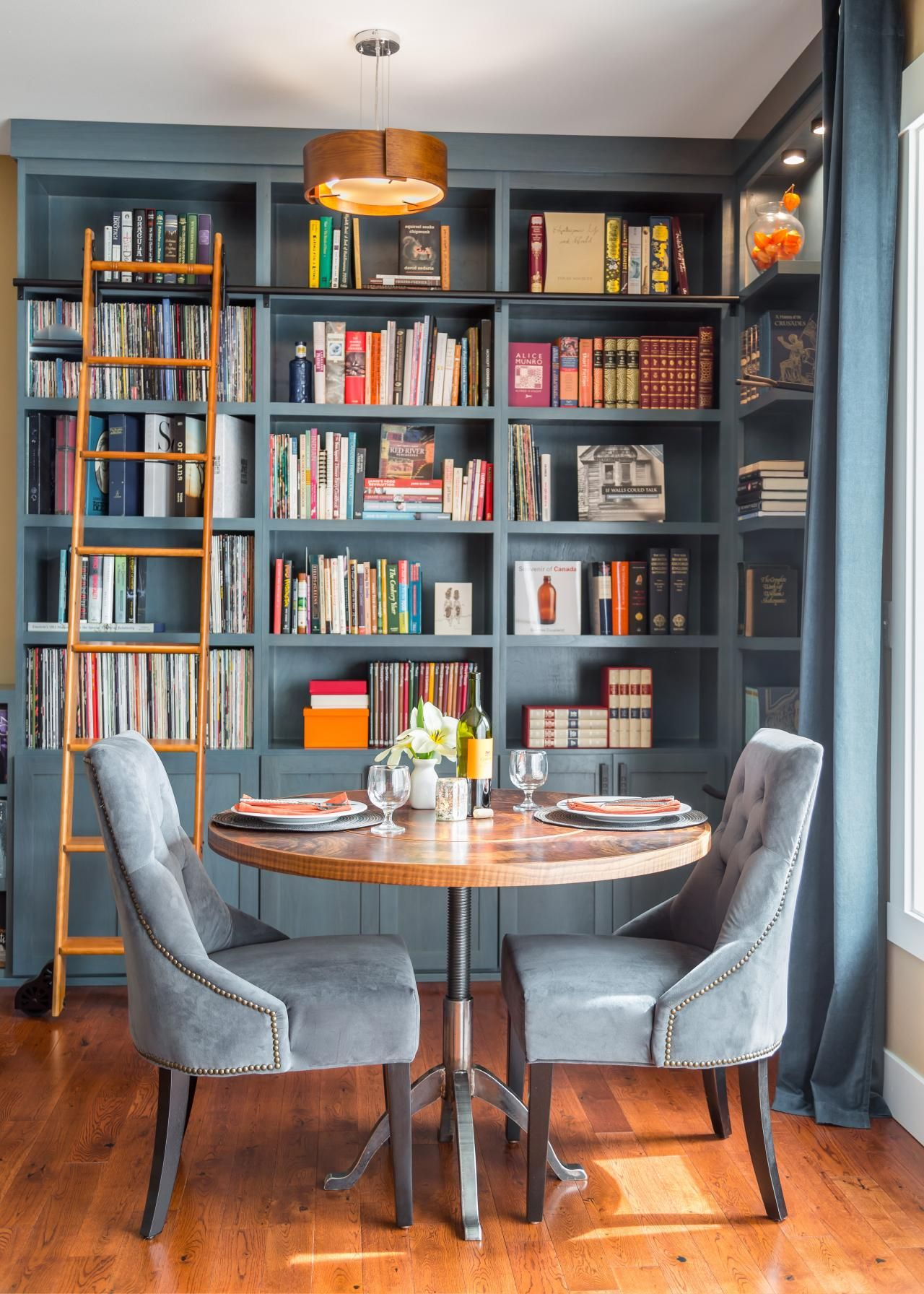 Beautiful Blue Home Library Nook Was Once