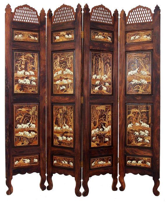 Antik Indische Anglo Orient Massiv Holz Paravent Raumteiler
