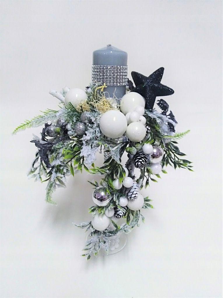Swiecznik Swiateczny Bozonarodzeniowy Szklo Stroik Christmas Decorations Flower Boxes Flower Arrangements