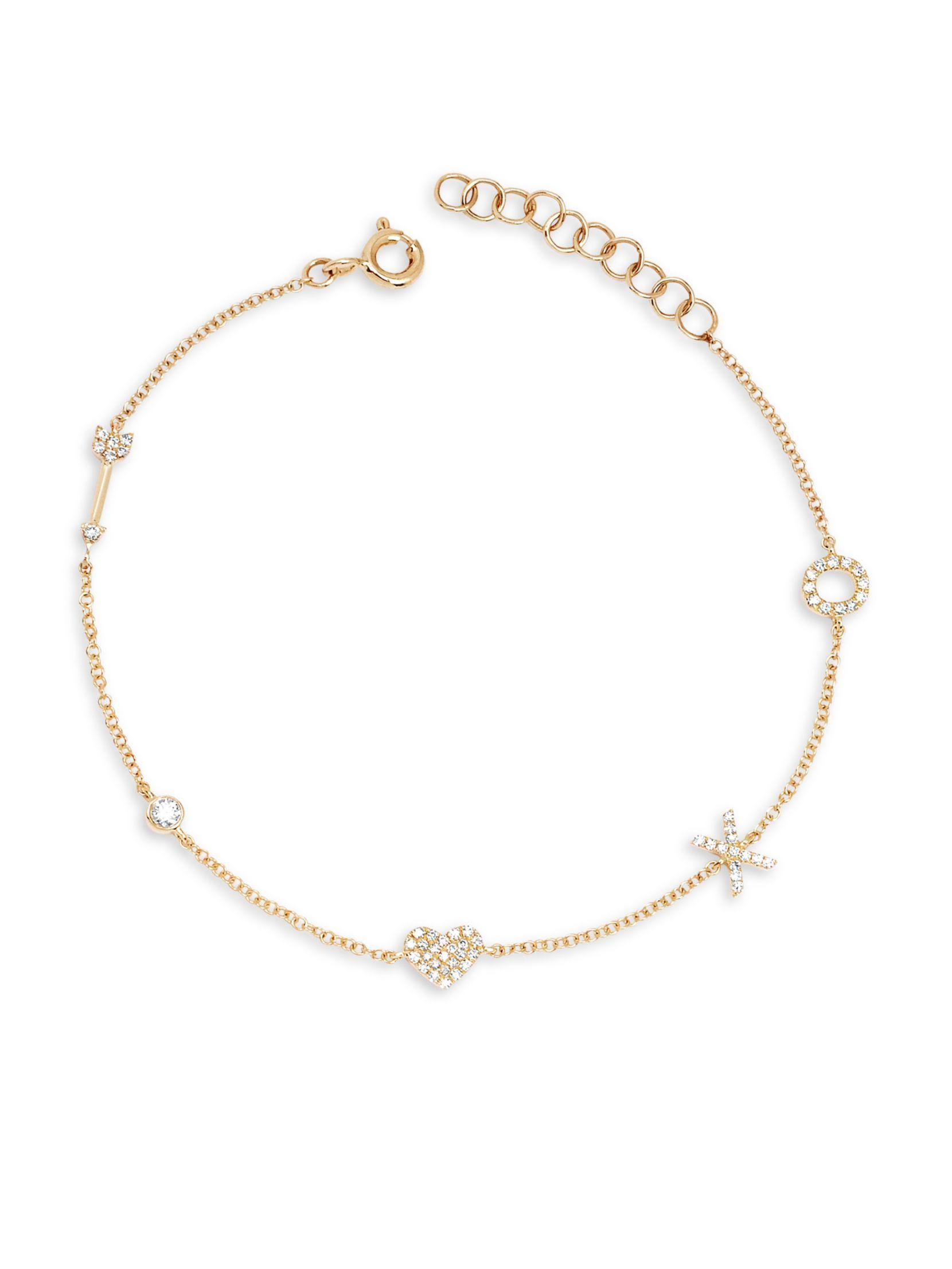 Ef collection k yellow gold u diamond sweetheart charm bracelet