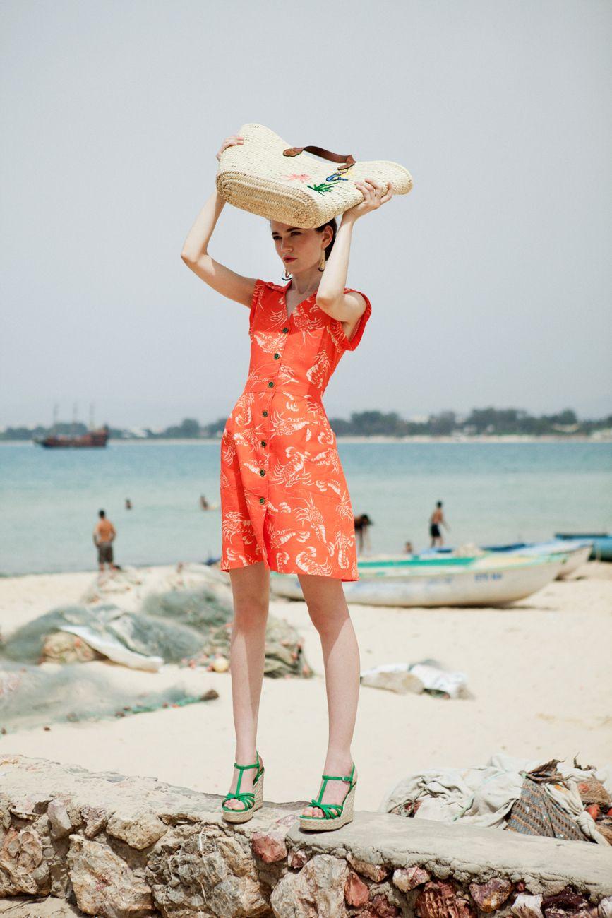 EV #Dress #red #coral #print #lobsters #handmade #linen #SS15 #Medwinds #mediterranean #style