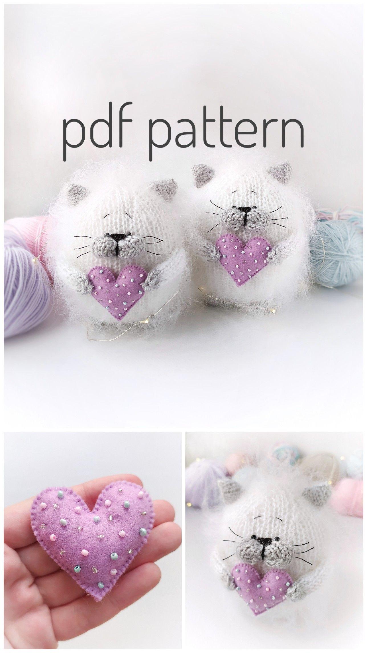 Cat toy knitting pattern White fluffy cat Knit cat pattern