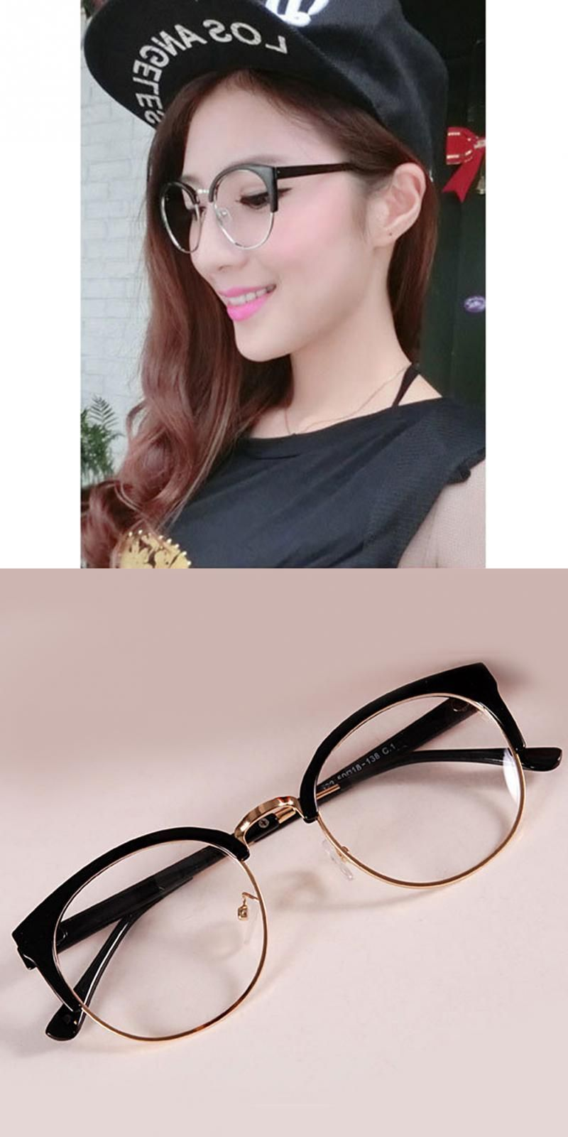 383623362 Trendy summer semicircle frame goggles plain glass spectacles stylish women  metal+plastic anti-radiation