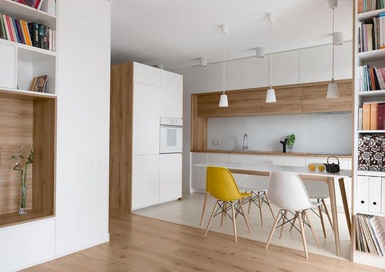 Moderne Wohnkuche In Weiss Und Eichenholz Moderne Kuche Kuche Eiche Kuchen Design