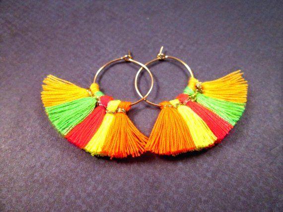Gold Teardrop Dangle Earrings Rainbow Fan Earrings Cotton Tassel Earrings FREE Shipping U.S.
